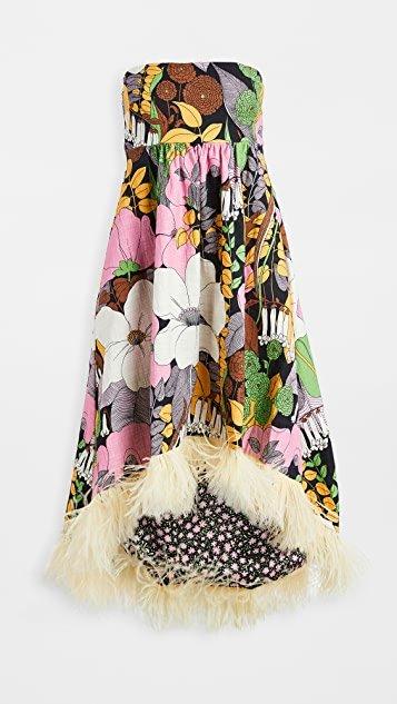 La Scala Dress With Feathers