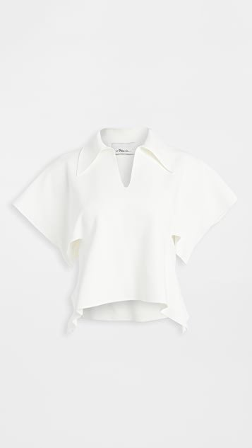 Short Sleeve Polo Sweater with Side Cutout