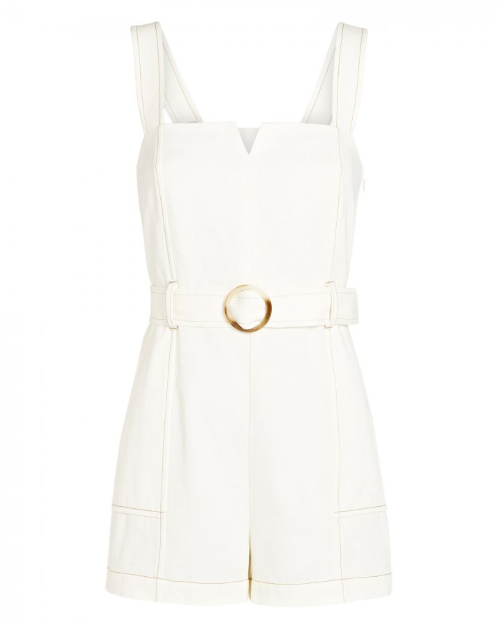 Stefania Belted Twill Romper