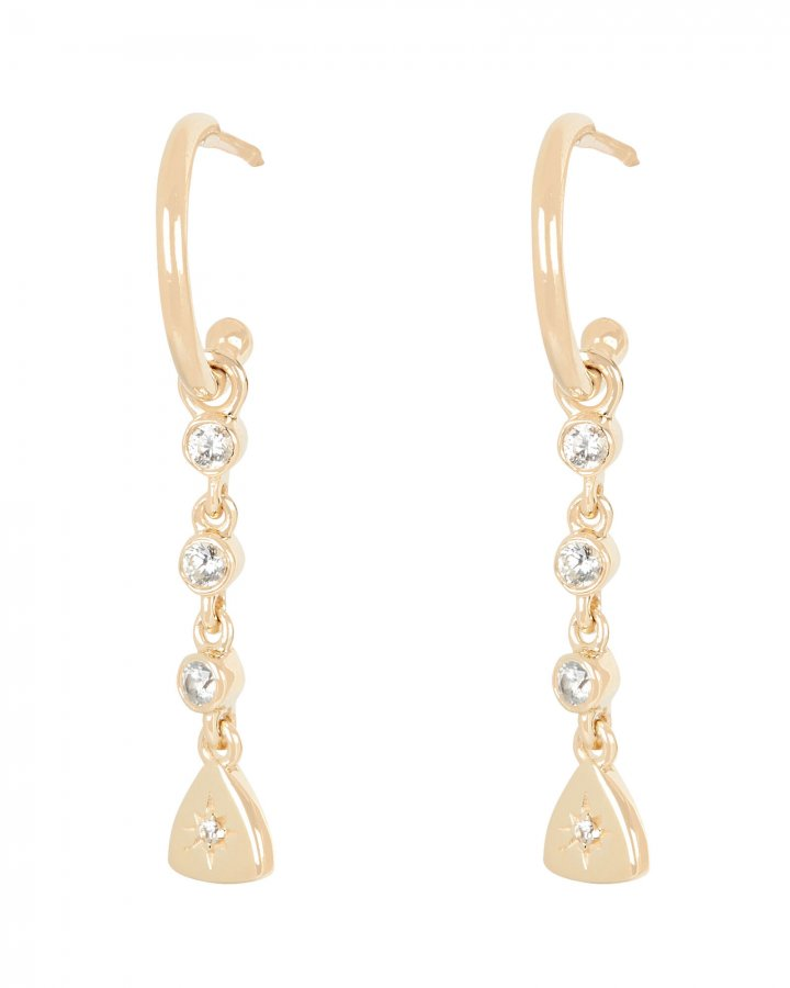 Crystal Starburst Charm Hoop Earrings