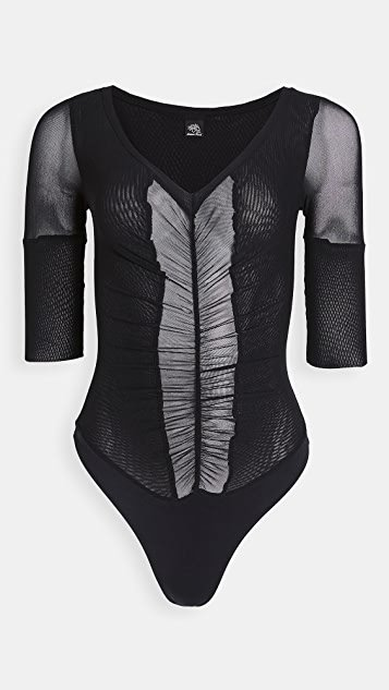 Ruched Panel Thong Bodysuit