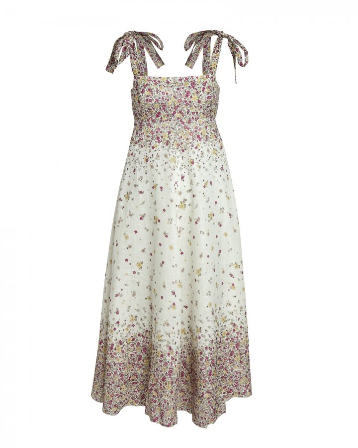 Carnaby Floral Tie-Shoulder Midi Dress