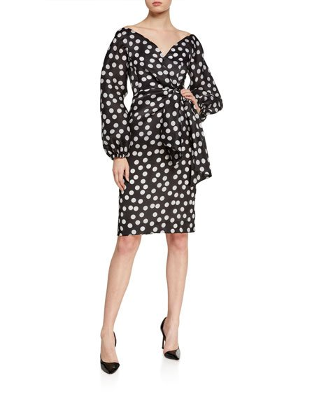 Polka-Dot Organza Puff-Sleeve Dress