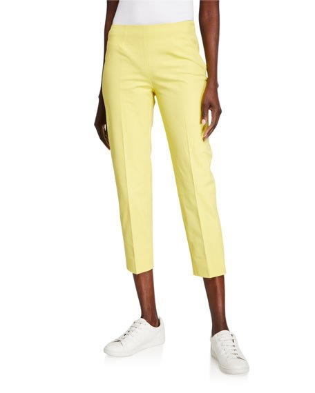 Audrey Stretch Cotton Crop Pants, Yellow