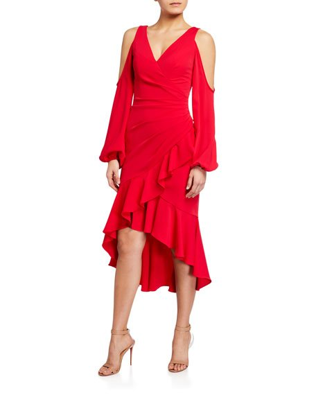 Cold-Shoulder Balloon-Sleeve High-Low Faux-Wrap Dress