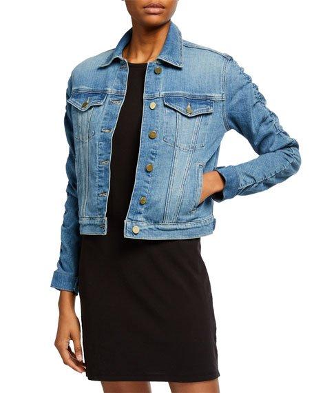 Le Vintage Denim Jacket with Shirred Sleeves