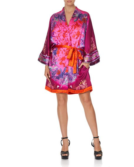 Printed Silk Robe with Narrow Collar