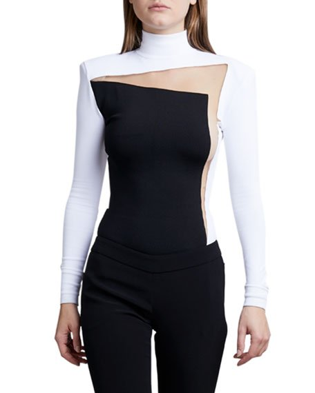 Mock-Neck Two-Suit Illusion Bodysuit