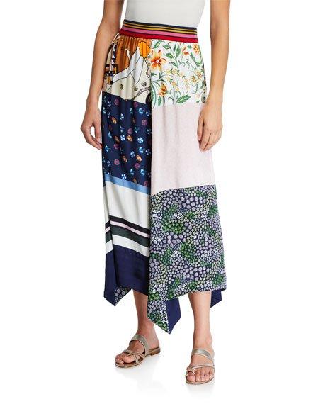 Summer Patchwork Twill Handkerchief Skirt