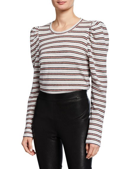Amara Long-Sleeve Puff-Shoulder Tee