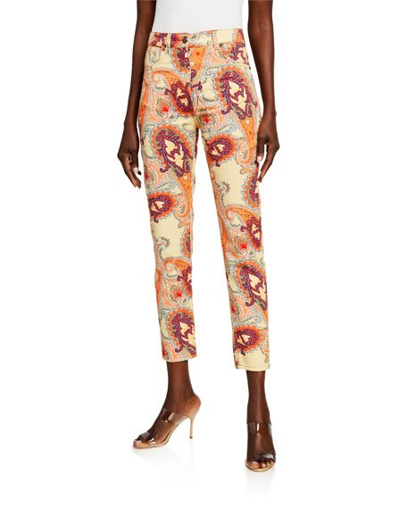 Floral Skinny Ankle Jeans