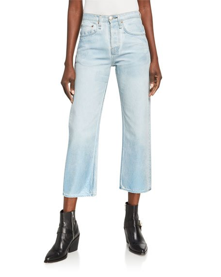 Maya Foil High-Rise Ankle Straight  Jeans