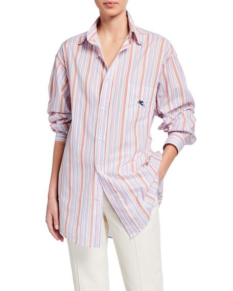 Pegasus Striped Menswear Shirt, Orange