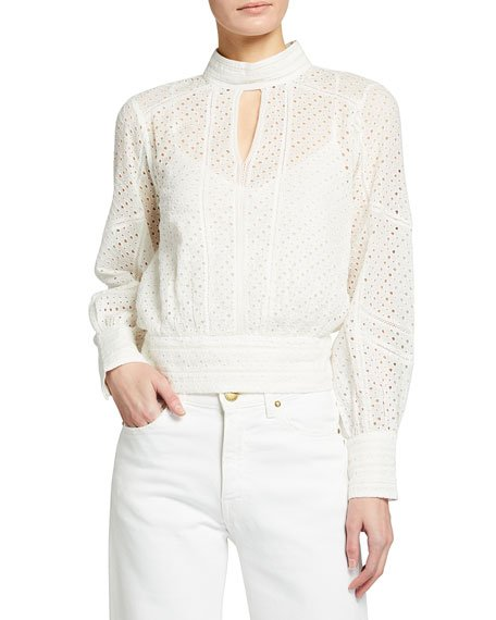 Eyelet Long-Sleeve Party Top