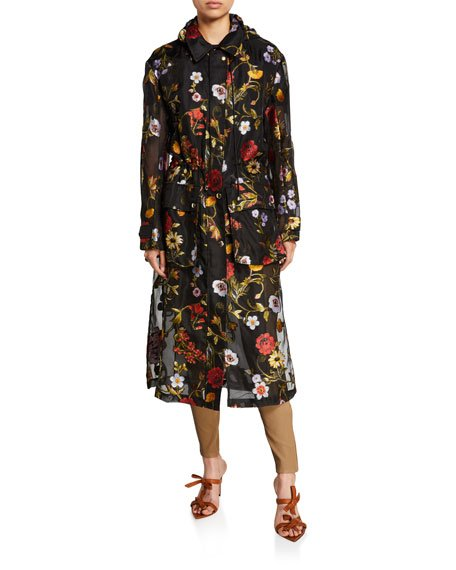 Floral Embroidered Chiffon Collared Coat