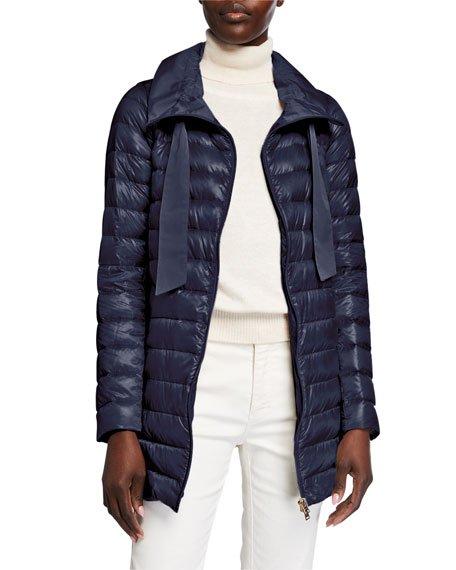Long Zip Hooded Woven Down Jacket