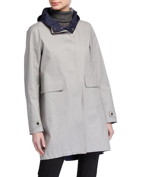 Woven Half Coat with Hood
