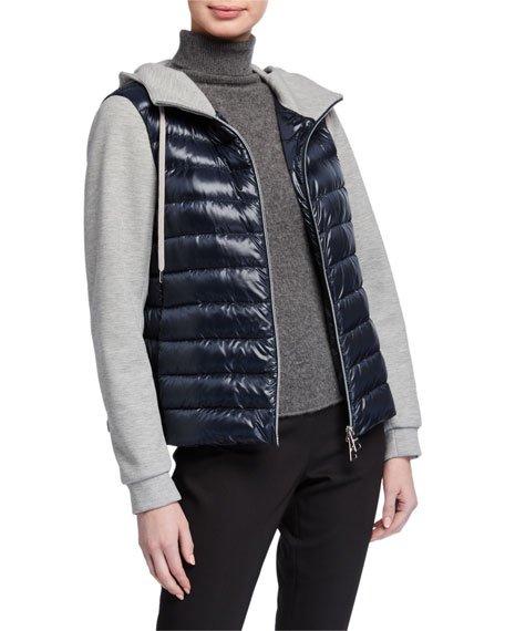Mixed-Media Hooded Zip Jacket