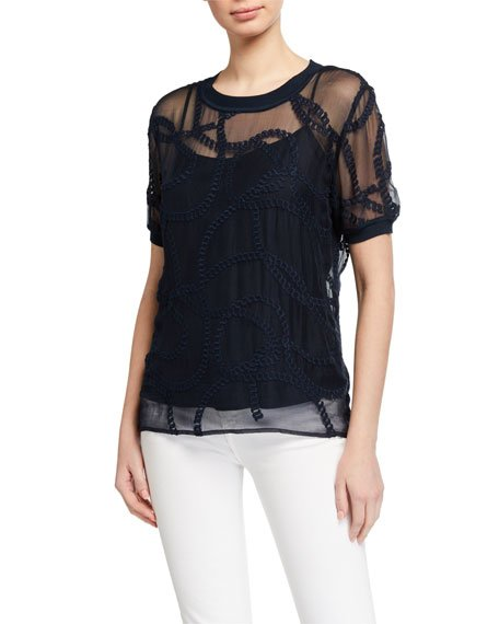 Kelsey Sheer Embroidered Shirt w/ Camisole