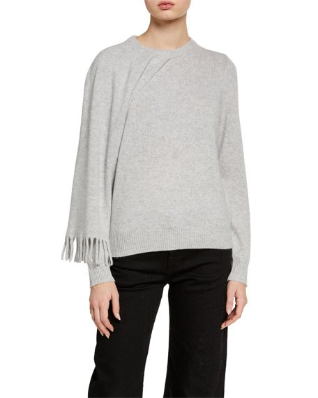 Cashmere Drop-Sleeve Sweater w/ Scarf Detail