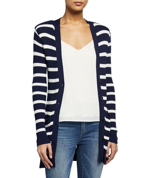 Corin Striped Button-Front Cardigan