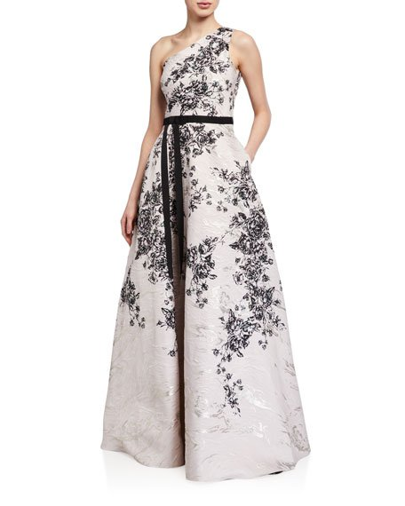One-Shoulder Printed Metallic Jacquard Gown
