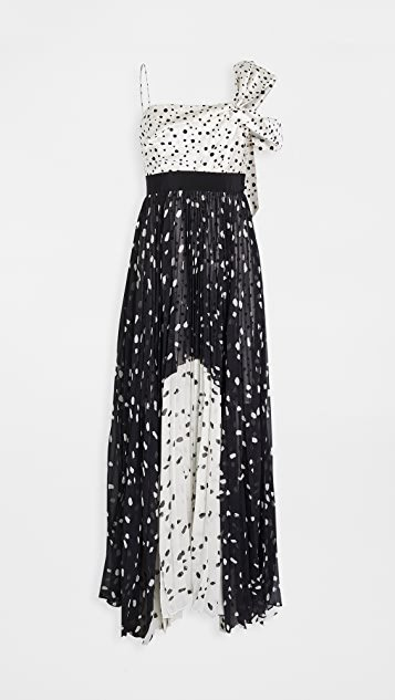 Salgar Polka Dot One Shoulder Gown