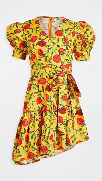 Yellow Red Fruit Mini Dress