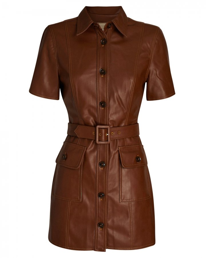 Vegan Leather Mini Shirt Dress