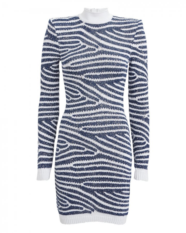 Sequined Striped Sweater Dress