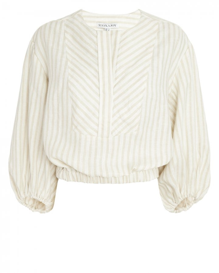 Kennedy Linen Balloon Sleeve Blouse