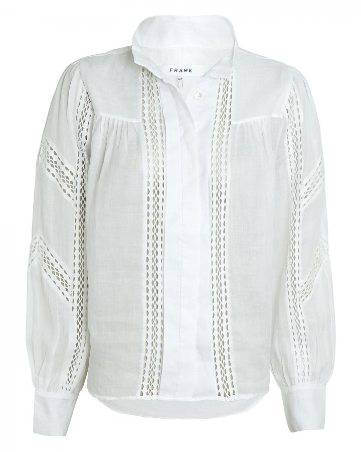 Panel Lace Button-Up Blouse