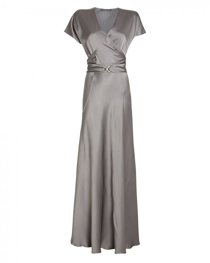 Belted Satin Wrap Gown