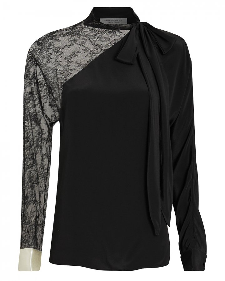 Lace-Trimmed Crepe Blouse