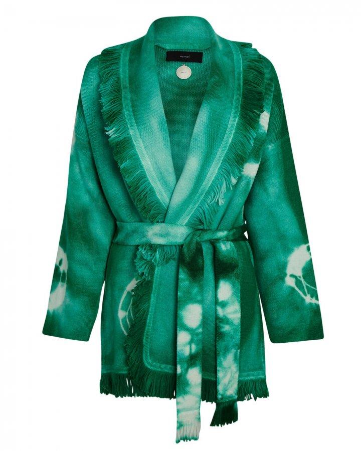 Tie-Dye Wool Wrap Cardigan