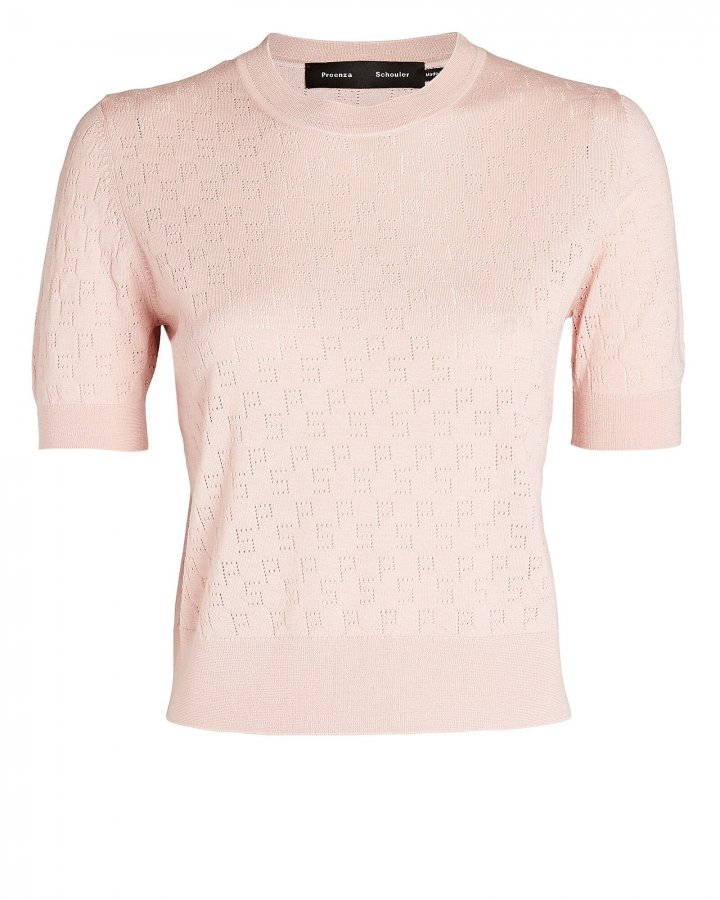 Pointelle Logo Knit Top