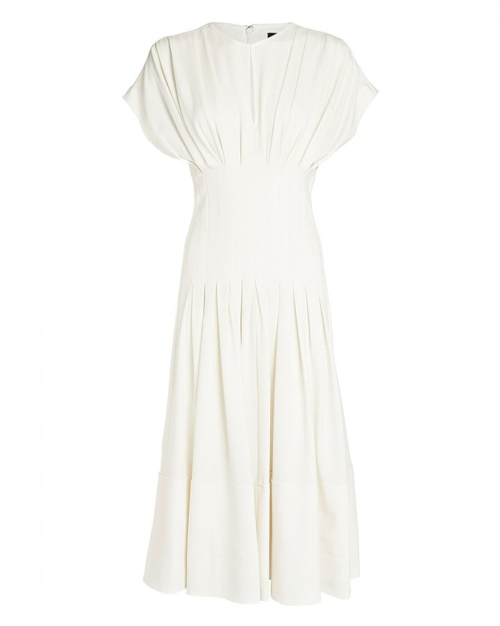 Textured Crepe Fitted Waist Dress