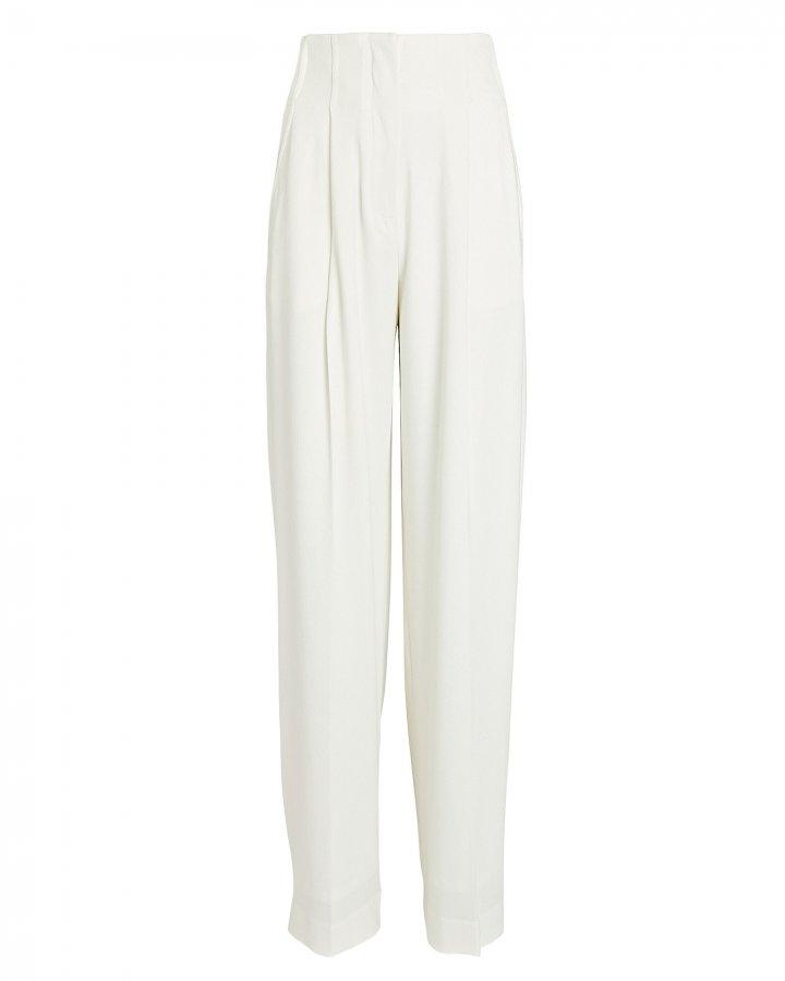 Textured Crepe High-Waist Pants