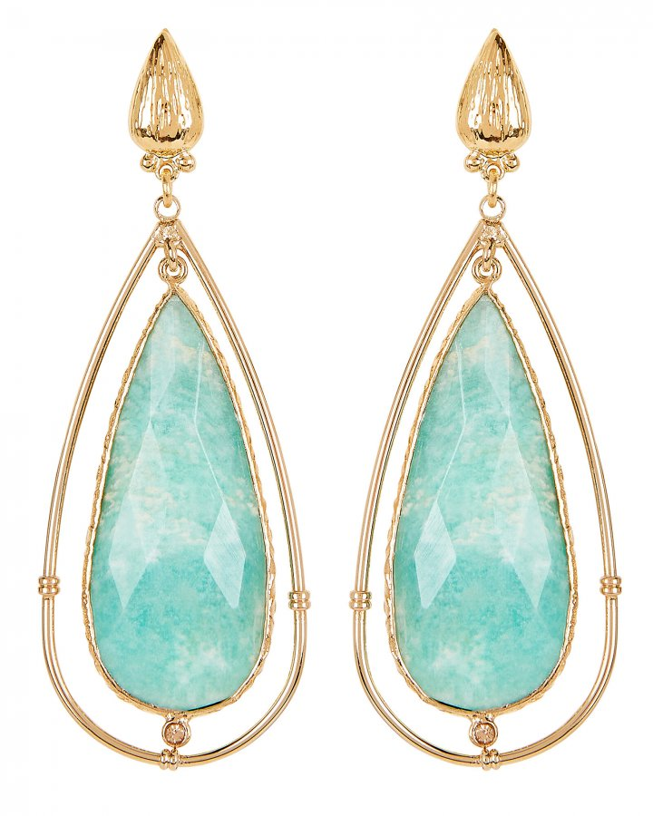 Serti Cage Amazonite Teardrop Earrings