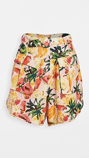 Frutas Linen Shorts