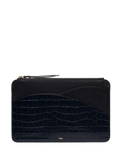Chloé Blue Walden Mock Croc Leather Pouch