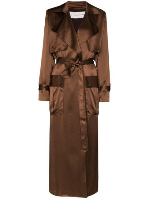 Michael Lo Sordo Belted Silk Trench Coat