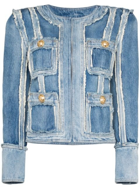 Balmain Patchwork Denim Jacket Ss20 | Farfetch.com