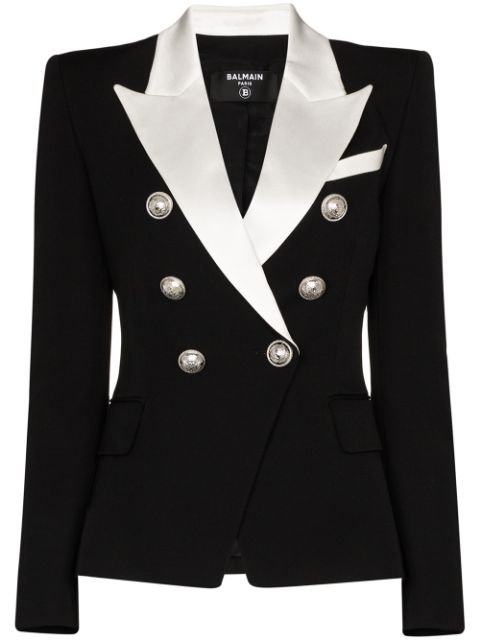 Balmain Contrast Lapel Double-Breasted Blazer Ss20 | Farfetch.com