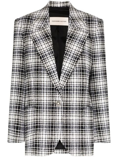Alexandre Vauthier Checked Crystal Button Blazer