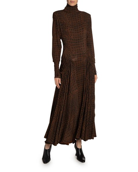 Crocodile-Print Jersey Turtleneck Dress