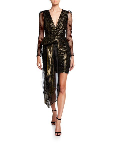 Simone Metallic V-Neck Long-Sleeve Drape Front Mini Dress
