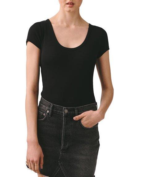Scoop-Neck Short-Sleeve Rib Bodysuit