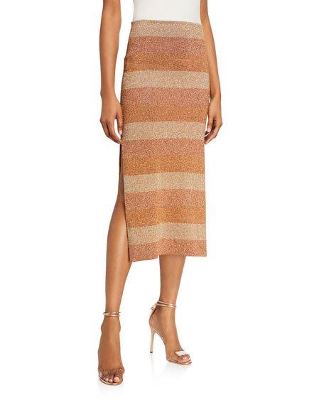 Shimmer-Striped Slit-Hem Skirt