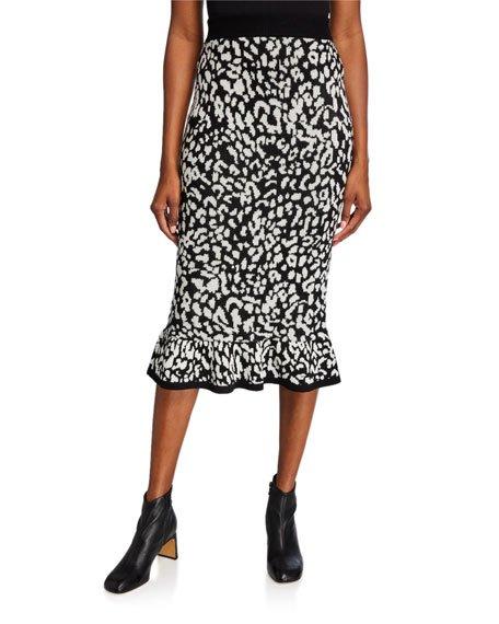 Animal-Print Wool Flounce Midi Skirt